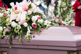 Coffin with flowers at non religious funeral